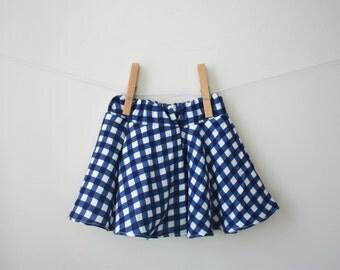Little Girl's Blue Plaid Circle Skirt, Sizes 2T