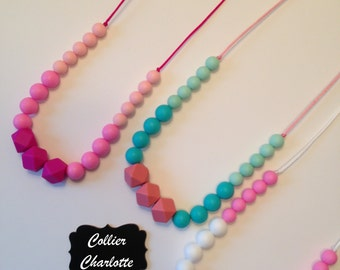 Teething necklace / silicone accessory / shower and birth gift / necklace from MOM / model CHARLOTTE