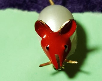 Vintage Enamel Pearl Mouse Pin Brooch Made in Korea