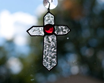 Clear and Ruby Stained Glass Cross