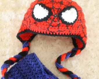 Spiderman BABY hat and diaper cover set, SPIDERMAN baby HAT with blue diaper cover, Spiderman baby photo prop, spiderman homecoming