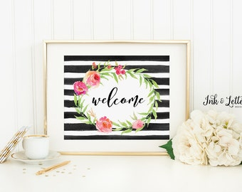 Welcome Printable - Welcome Sign - Watercolor Flower Print - Floral Wall Decor - Black and White - Instant Download - Digital Print - 8x10