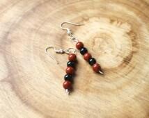 Red Jasper Earrings, Golden Obsidian Earrings, Meditation, Base Chakra Healing Jewelry, Jasper Jewelry, Obsidian Jewelry, Yoga Gift For Her