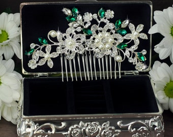 Emerald bridal hair comb Green rhinestone hair comb Green crystal hair comb Art deco hair comb Emerald Green hair comb wedding hair comb