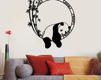 Wall Vinyl Decal Panda Bear Enso Bamboo Meditation Decor 2317di