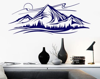 Wall Vinyl Decal Mountains and Trees Night Sky Nature Landscape Hand Drawing Sketch Modern Home Decor (#1193dz)