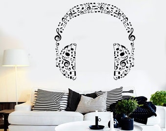 Wall Vinyl Music Headphones Made Of Notes Guaranteed Quality Decal Mural Art 1578dz