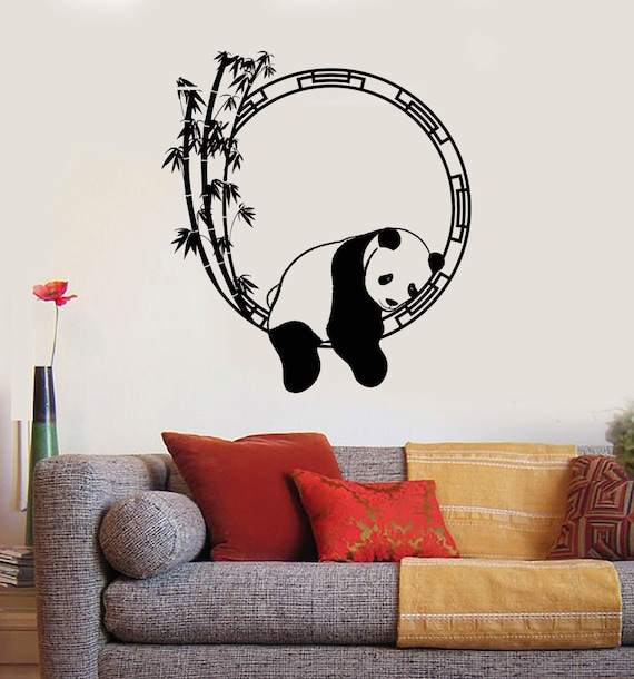 Wall vinyl decal panda bear enso bamboo meditation decor for Panda bear decor