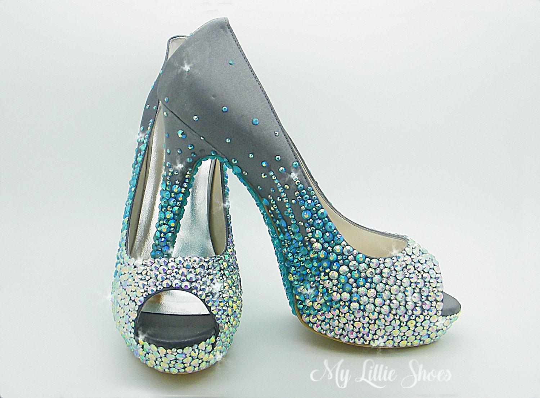 Shoes Bling Peep Toe High Heels Wedding Bridesmaid