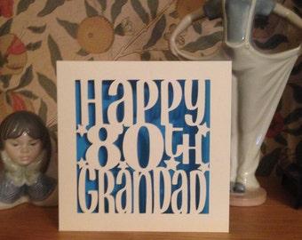 Papercut - Personalised 60th 70th  75th 80th 90th 100th  Grandad Birthday Card - Grandpa - Gramps