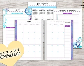 2017 - A5 Monthly Planner Printable - Instant Download - Filofax A5 - Design: Chasing Dreams