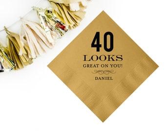 Personalized birthday napkins, 40th birthday napkins, monogrammed party napkins, gold foil napkins, birthday party decor, custom napkins 141