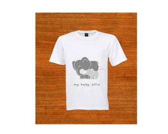 "Child T-shirt. ""My baby ellie."" Elephant. Africa. Baby shower gift. Kids clothing. Birthday gift. Christmas gift."