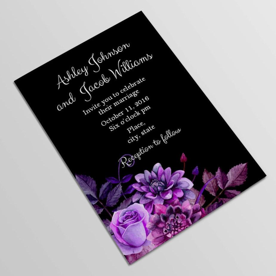 Dark Purple Wedding Invitations: Black And Purple Wedding Invitation Template By