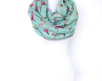 Mint Green Infinity Scarf, Summer Scarf, Dragonfly Fashion Scarf, Women's Scarf, Gift For Her, Boho Scarf Shawl, Bohemian Accessories, Gifts