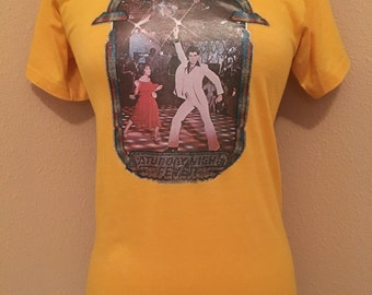 Rare 70s Saturday Night Fever glitter graphic tee!!!
