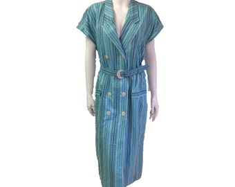 80s does 50s blue stripe vintage dress from peacevintage shell buttons