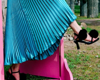 Metallic maxi pleated skirt, metallic skirt, maxi skirt in black,silver, gold, blue- JWCong