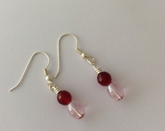 Pink faceted bead and pale pink oval beaded earrings