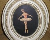 Vintage Ballerina Wall Decor Ornate Plastic Frame Beautiful Colors