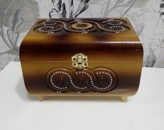 Wooden Jewerly Box Wooden box Jewerly Box Handmade casket Wood carving Small wood box schatulle holz Bead Box Treasury Box