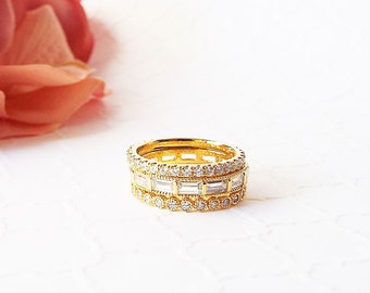 Gold plated CZ Baguette Stacking Band Baguette CZ diamonds 3 mm wedding band baguette eternity ring wedding stacking band