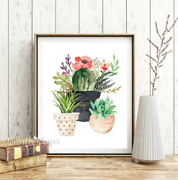 cactus wall art succulent wall art printable cactus decor. Black Bedroom Furniture Sets. Home Design Ideas
