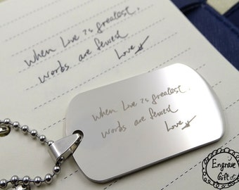 Deployment Long Distance Laser Engraved Dog Tag Necklace or Keychain with Ball Chain - Custom Personalized Hand Engraved Love Pendant