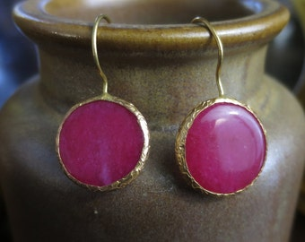 Pink chalcedony Brass Earrings