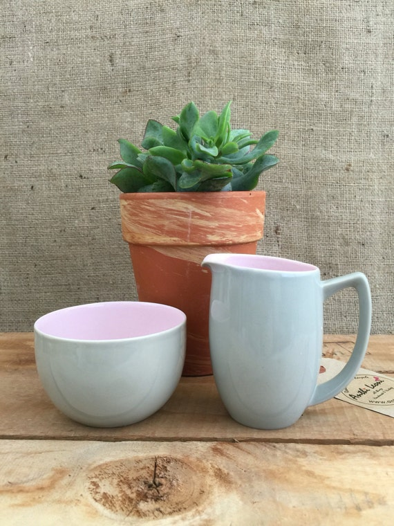Art Deco Branksome China Milk Jug and Sugar Bowl - Pretty Vintage Two Tone Grey-Green & Pink Creamer and Bowl / Retro Style Kitchenalia