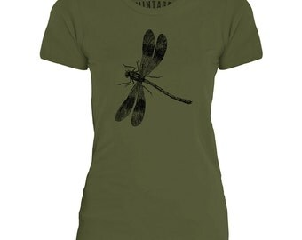 Mintage Sitting Dragonfly  Womens Fine Jersey T-Shirt