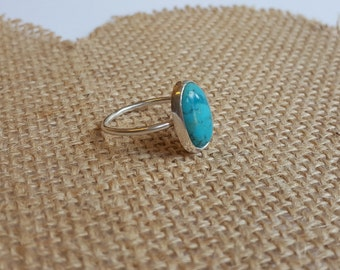 Sterling Silver & Turquoise Oval Cabochon Ring, Statement Ring, Stacking Ring, Silver Stacker, December Birthstone Ring