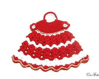 Crochet Christmas  Potholder, Red and White Potholder, Presina vestito bianco e rosso