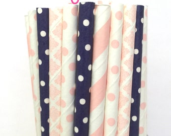 2.85 US Shipping -Pink and Navy Blue Paper Straws - Blue and Pink straws - Cake Pop Sticks - Drinking Straws