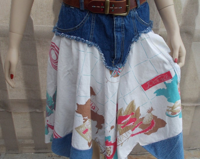 Vintage 90s Recycled Upcycled Blue Jean Denim Distressed Handmade Womens 60s Refashioned Tablecloth Below The Knee Skirt