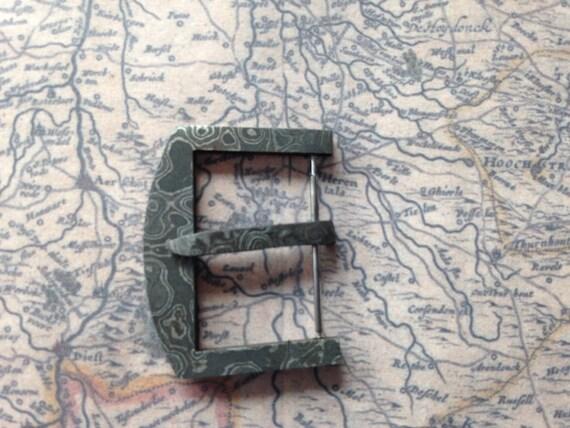 Damascus steel Watch Buckle 22mm / 24mm (for Panerai / Omega / Rolex / Longines) / Raindrop & Ladder
