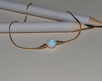 OPAL BRACELET // Opal Ball Bracelet - Opal Jewelry - White Opal Bracelet Gold - Dot Bracelet - Drop Bracelet - Opal Charm Bracelet