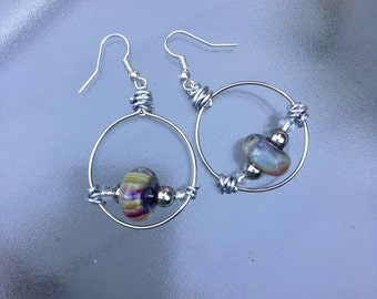 Silver Hoop Earring with Hand-Blown Glass Beads