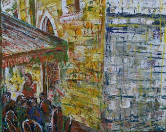 """Zagreb, Original Oil Painting on Canvas 20x30"""" Pallet Knife"""