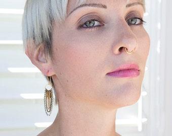 Tri-metallic chandelier earrings