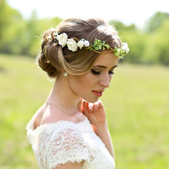 Wedding Hairstyle Crown: Flower Crown Wedding Headpiece Woodland Flower Bridal Hair