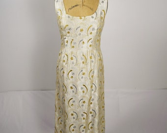 Vintage Gold & Silver Embroidered Gown/ Medium