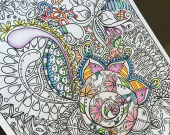 Instant down load,Adult and Children Coloring page, Digital, Zentangle Inspired, Hand Drawn,  Doodle Art