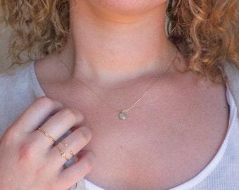 Gemstone necklace - tiny necklace - chalcedony necklace - dainty gold necklace