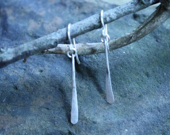 Sterling Silver Earrings Handmade Textured Double Paddle Elongated Dangle by the Gifted Goose
