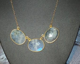 Modern Shimmering Labradorite Gold plated necklace.