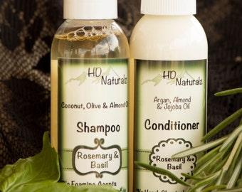 Rosemary Shampoo and Conditioner, Scalp Treatment, Dandruff Treatment, Free Shipping, Scaly Flakey Itchy Scalp, 4 oz Combo Set