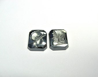 Hematite intaglio 2 piece  (one pair) per  lot.. 12x10 mm octagons.