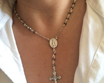 "Gray Beaded Rosary Necklace 17.5""-20"" Adjustable"