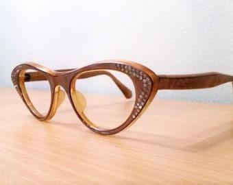 Vintage Cat Eye Glasses AB Rhinestone Embellished, New Old Stock, b